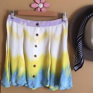 Free people Silk tie dye skirt